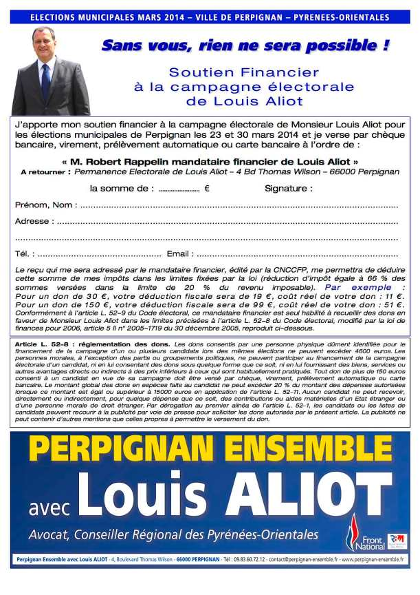 Bulletin - faire un don à Louis Aliot - Perpignan Ensemble - Municipales 2014
