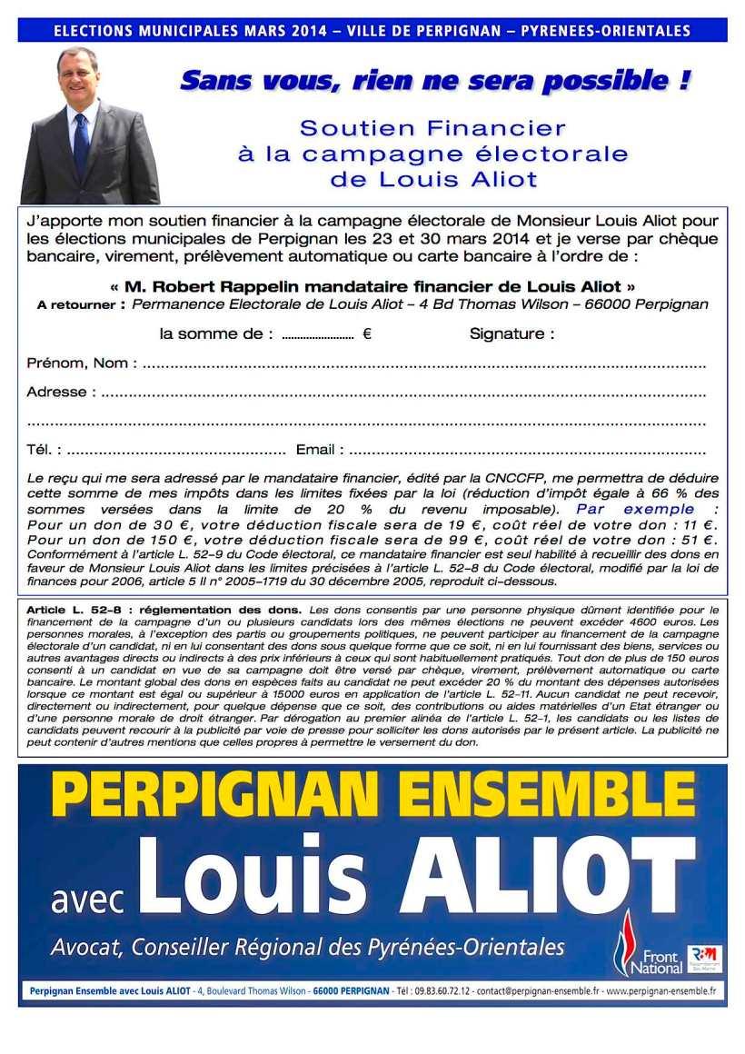 Bulletin - faire un don à Louis Aliot - Perpignan Ensemble - Municipales 2014