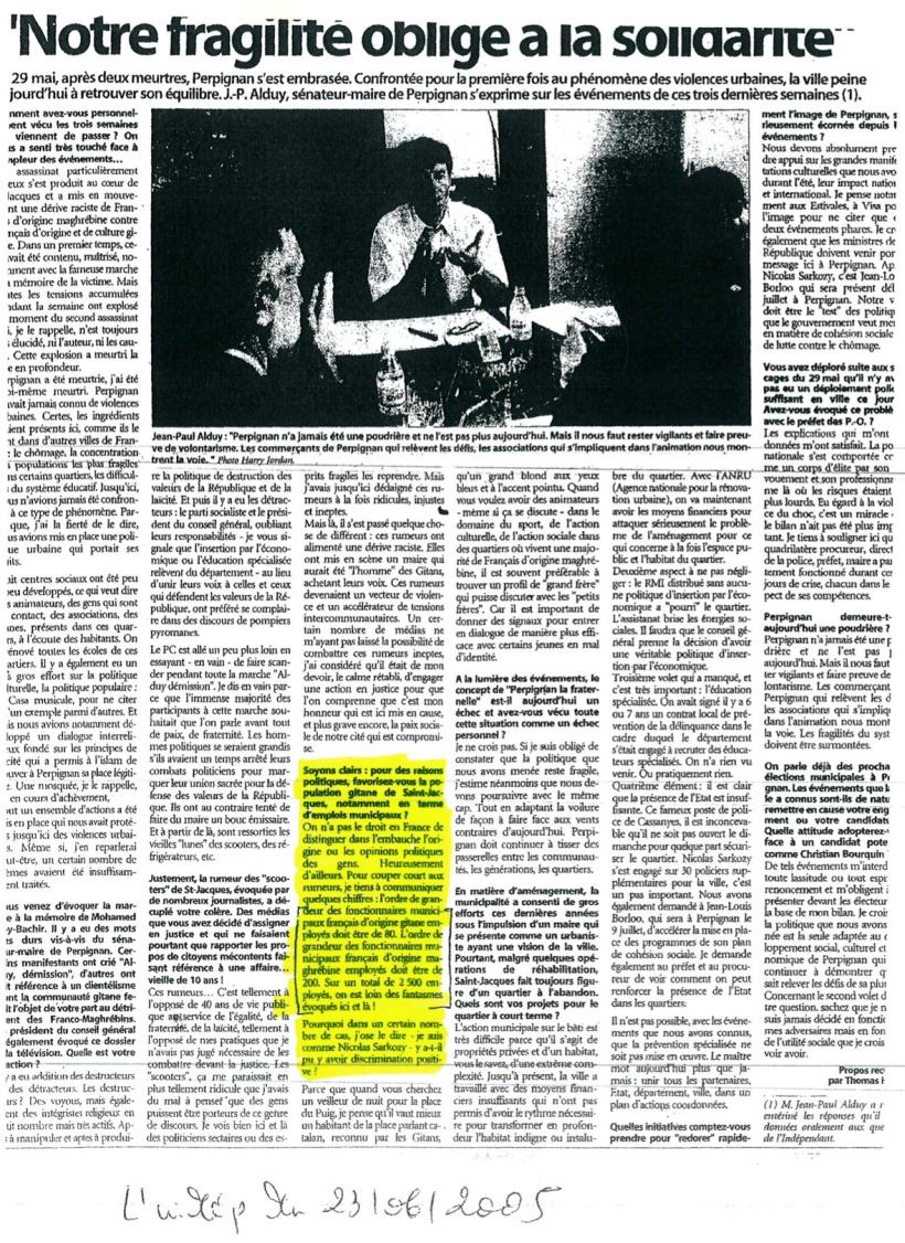 article l'independant 23 juin 2005