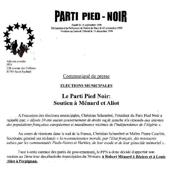 communique de de presse du Parti Pied Noir