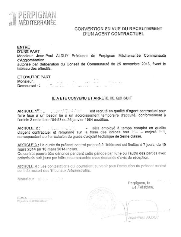 Convention en vue du recrutement d'un agent contractuel - Perpignan